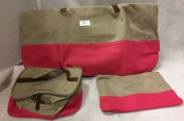 Beige and pink 3 piece bag set by La Redoute