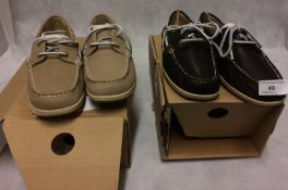 2 x pairs of ladies Oxford boat shoes in brown and light brown (size 6½)