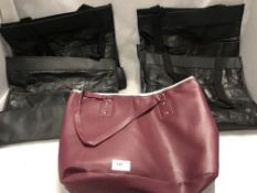 4 x ladies black handbags with umbrellas inside and one other in burgundy non-matching (5)