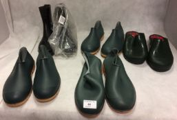 4 x pairs of shoe type wellington boots in green and 1 pair above ankle in black (size 6) (5)