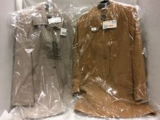 2 x assorted ladies woollen coats in camel and taupe (both size 12)