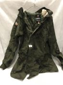Superdry International military style camouflage coat size M (used but reasonable condition)