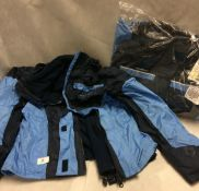 2 x outdoor casual ladies 3 in 1 winter coats in blue (Euro size 38)