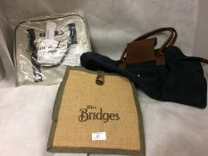 2 x assorted holdalls and a small Mrs Bridges shopping bag