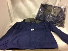 2 x Lands End waterproof coats in blue (size small)
