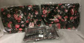 3 x assorted 2 piece bags (2 x pink roses and 1 x tartan)