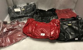 6 x assorted black and red medium sized handbags