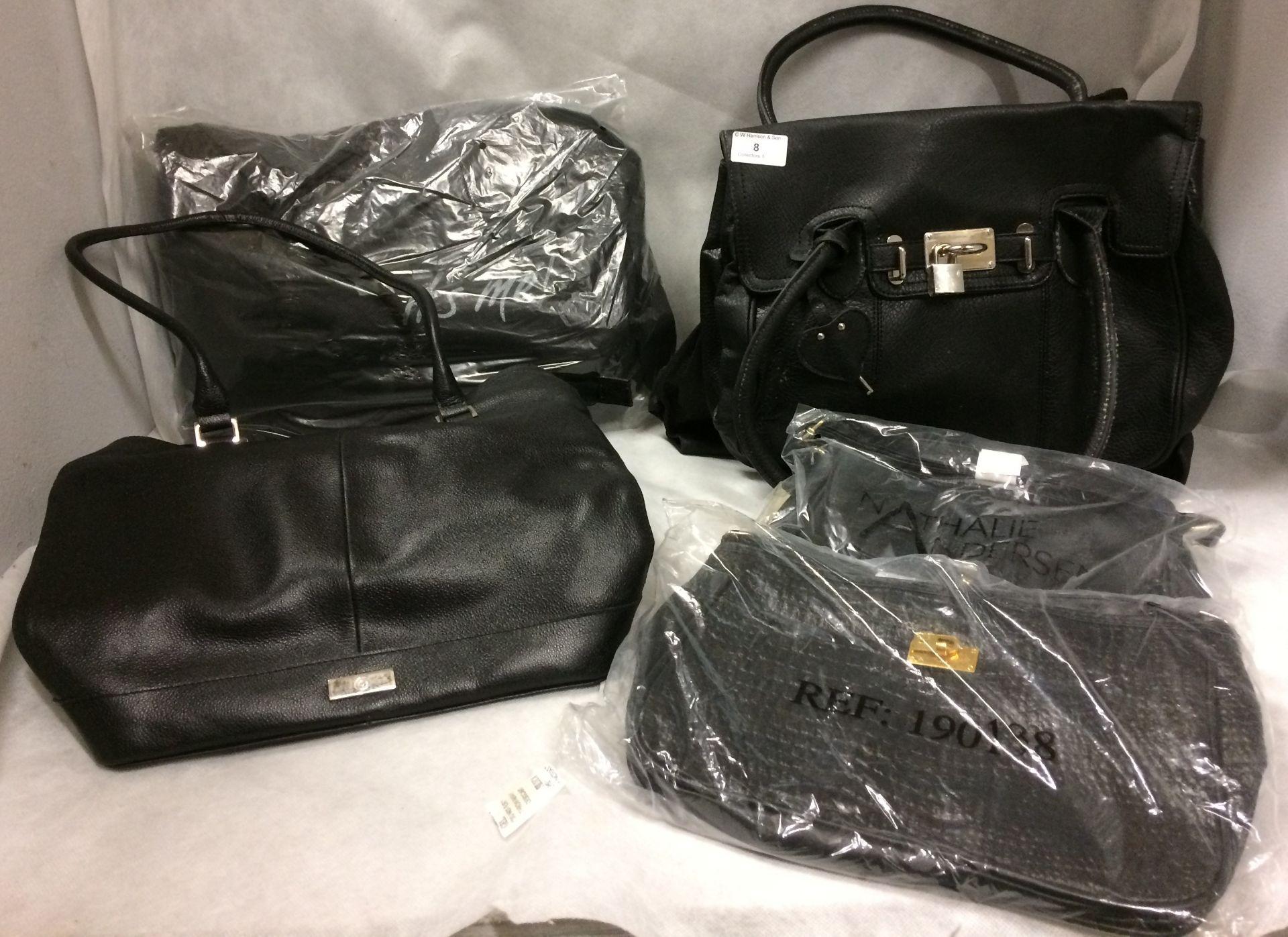 5 x assorted black handbags by Nathalie Anderson, Bon Prix It's Me,