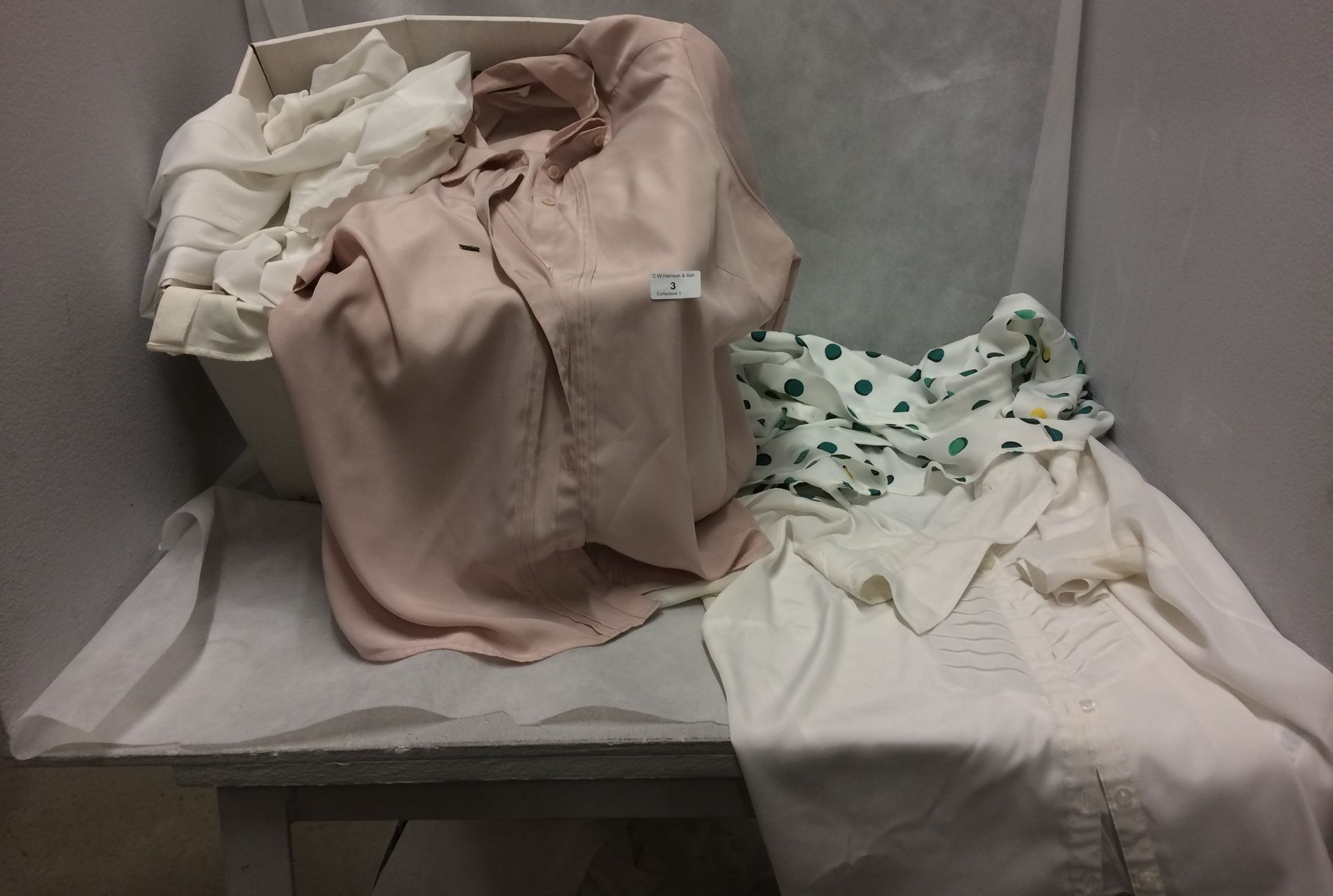 Contents to box - 20 x ladies blouses sizes 16 - 20 by M & S and Autograph (clean but not new)