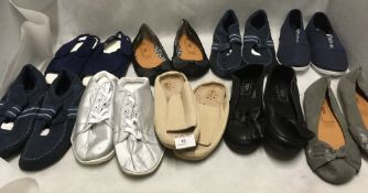 9 x pairs assorted ladies shoes/slippers (various colours and sizes)