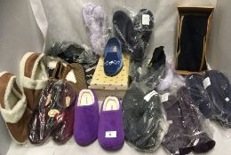 15 x pairs of ladies slippers (assorted colours) by Dunlop, Damart,