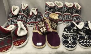 7 x pairs of ladies snowflake winter slippers (size L)