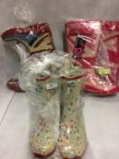 3 x pairs of Wellington boots in Union Jack and flowers (size 6)