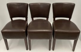 3 x Memphis Margo BR-5 Dark Brown side/dining chairs with walnut coloured frames