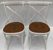 2 x White Palm chairs with hessian seats.