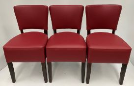 3 x Memphis Vena BO-10 Wine Red side/dining chairs with walnut coloured frames