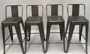 4 x Tolix metal high stools with back (660mm)