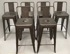 6 x Tolix metal high stools with back (660mm)