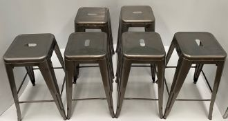 6 x Tolix metal high stools (660mm)