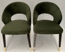 2 x Ambrosia Velvet Green 59 chairs with Wenge coloured frame