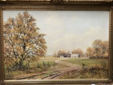 Kevin Walsh, gilt framed oil on canvas 'Dirt Track leading to Farm Buildings',