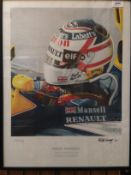 Nick Curry 1992, a framed print Nigel Mansell 1992 Formula One World Championship, 54cm x 32cm,