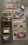 Four unframed motor racing prints by Michael Turner, three framed photo prints,