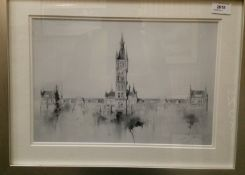 A framed print of the University of Glasgow,