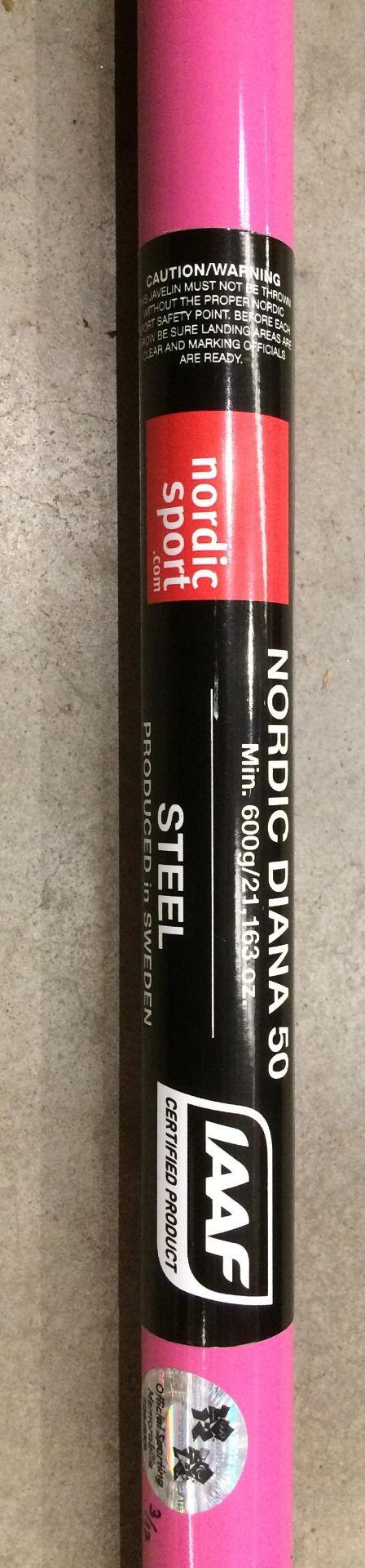 A Nordic Sport IAAF Certified Product Nordic Diana 50 steel javelin in pink (min. 600g/21.163oz). - Image 2 of 3