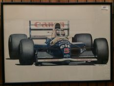 Nick Curry 1991, a framed print of Nigel Mansell in his Williams Renault,