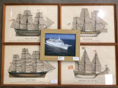 Four framed prints of famous British shi