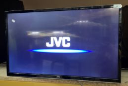 "A JVC LT-32C670(C) 32"" wall mounting LED Smart TV complete with remote control"