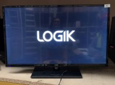 "A Logik L32HE18 32"" HD LED backlit LCD TV complete with remote control and stand"