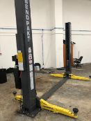 A BENDPAK XPR-9TS 9000lb/4082kg capacity two post wheel free vehicle lift - 3 phase Date of MFG :