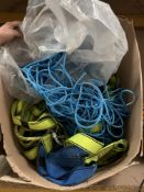 Contents to box - 5 assorted used safety harnesses and lanyards, quantity of blue nylon rope etc.