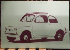 Box print of a Fiat 500 70 x 100cm