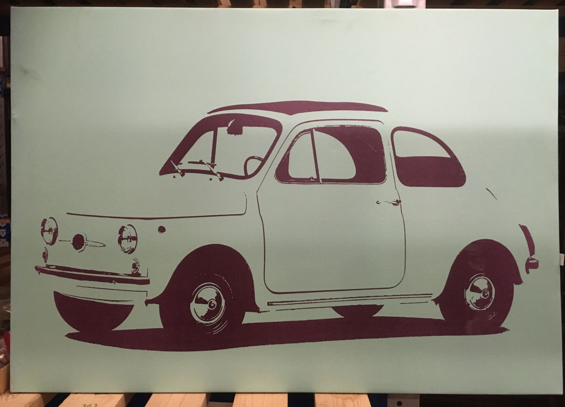 Box print of a Fiat 500 70 x 100cm