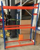 A blue and orange three height warehouse rack - no boards - 156 x 48 x 200cm high