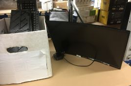 """A Samsung 24"""" curved colour display unit model no: C24F396FHU (part stand missing) complete with"""
