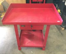 A Sealey red metal single drawer (two keys) workshop bench 100 x 66 x 87cm high