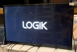 "A Logik L32HE18 32"" HD LED backlit LCD TV complete with remote control - no stand"