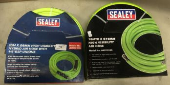 Two 10m rolls of Sealey 10mm and 8mm high visibility air hose