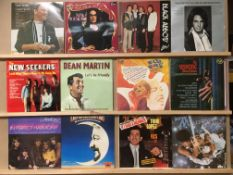 Black vinyl LP record case and contents - 45 assorted LPs - easy listening, musicals, latino, etc.