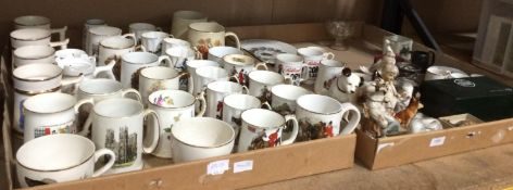 Contents to tray - a large quantity of pottery/porcelain tankards, ornaments,