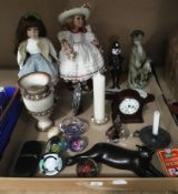 Contents to tray - five glass paperweights including Yorkshire Rose, two modern dolls on stands,
