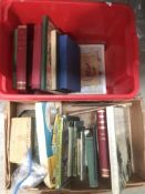 Contents to box - a quantity of books on fishing, The Angling Times Book, The Amateur Rod Maker,
