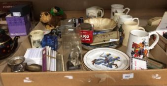 Contents to tray - porcelain and pottery tankards, watch straps, old tins,