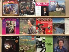 Contents to green plastic box - approximately 70 assorted LPs - many Spinners and other folk music,