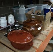 Remaining contents to rack - kitchenalia - brown glazed cooking pots,
