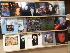 Contents to black/grey/brown LP case - 14 assorted New Wave and compilation albums - Frankie Goes